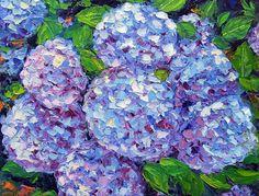 Hydrangea Painting-Original Oil Painting FlowerTextured Impasto Palette Knife on  Small Canvas