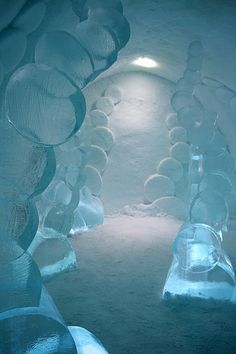 I think these are cut ice sculptures in a cave (man made) lol