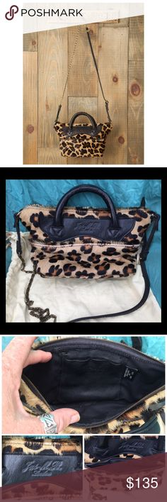 """Jas MB London Leopard Leather Mini Crossbody Bag Leopard Mini Wings Traveller-Gorgeous! Only carried once, in mint condition! Purchased via freepeople.com. Sold out everywhere!  Cute, leopard printed calf hair zip-top leather bag with adjustable belt-and-chain strap. Zip-up pocket on one side. Interior slit pocket. Fully lined.  By Jas M.B. Handmade in the UK.  10""""long at opening, 7 """"deep comes with dustbag. Free People Bags Crossbody Bags"""