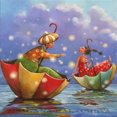 ' It's raining love' - by  Mariana Kalacheva   oil on canvas