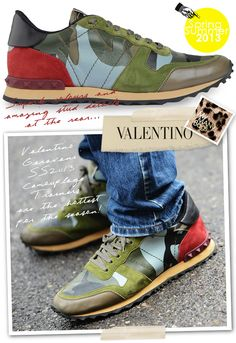 0b7bdfed546d35 Valentino SS2013 Mens Camouflage Trainers Valentino Camouflage