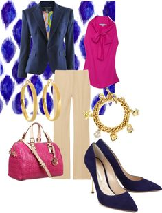 """Pink, Navy Blue, Nude, Gold Oufit """"work outfit"""" by twinkle0088 on Polyvore"""