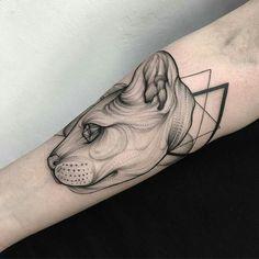 Geometric cat. #tattoo #cat