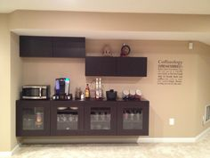 Coffee bar using IKEA Besta cabinets.