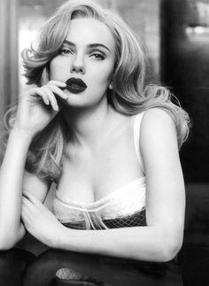 Scarlett Johansson does vampy lips.