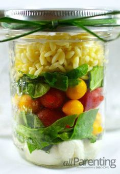 Caprese Mason jar salad (and other ideas for foods in a jar) | See more about mason jar salads, jar salads and mason jars.