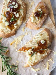 Fig Spread and Cheese Crostini.