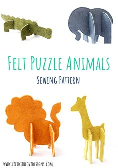 Felt Puzzle Animals Pattern Release - Felt With Love Designs Quiet Book Patterns, Animal Sewing Patterns, Felt Patterns, Sewing Patterns Free, Diy Handmade Toys, Handmade Felt, Sewing Stuffed Animals, Stuffed Animal Patterns, Zoo Animals