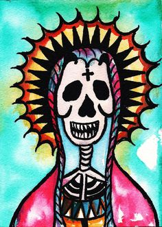 Mexican Holiday, Day Of The Dead Art, Watercolor Mixing, Skull Painting, Mexican Art, Mother Mary, Sugar Skull, Skeleton, Etsy Store