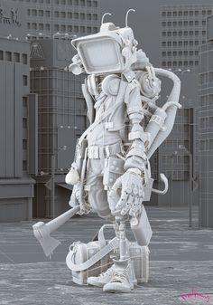 robot design Japanese killer robot is crazily good Zbrush, Character Concept, Character Art, Concept Art, Animation Character, Texture Photoshop, Art Steampunk, Arte Peculiar, Character Design