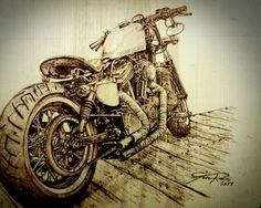 Amazing detailed bobberbike. Harley davidson woodburning.
