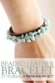 Beaded Leather Bracelet DIY - Easy to make and requires no fancy jewelry making supplies!