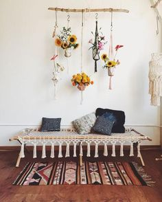 """We are obsessed with Macrame interior design pieces right now! We especially love that any design can be a """"Do It Yourself"""" piece. Macrame comes from the early"""