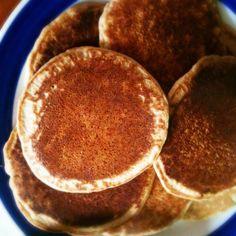 Yum! Breakfast today buckwheat & brown rice flour pancakes topped with tahini, sliced banana & carob syrup