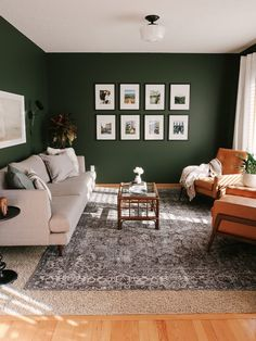 Tips for Decorating a Living Room with Dark, Bold Paint Color – kitty cotten - Modern Dark Green Living Room, Dark Living Rooms, Classic Living Room, Green Rooms, New Living Room, Living Room Interior, Living Room Decor Green Walls, Wall Painting Living Room, Bedroom With Green Walls