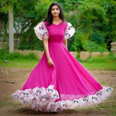 Stylish Georgette Printed Women's Gowns 💃 Dm for orders and queries Cotton Long Dress, Long Gown Dress, The Dress, Fancy Blouse Designs, Designs For Dresses, Frock Design, Anarkali Dress, Lehenga, Long Dress Design