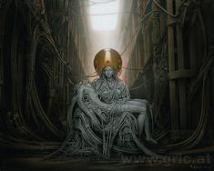"""""""Android Pieta"""" Peter Gric acrylic on fiberboard 2015"""