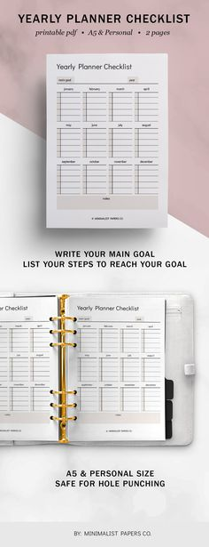 Yearly Planner and Goal Planner, Cleaning and Productivity Planner, Work, Business, and Task Checklist Printable - A5 & Personal Size For Individual Who Loves Minimalistic And Clean Design, Instant Download! #yearlyplanners #yearlychecklist #tasktracker #monthlytracker #goaltracker #etsyplanners Planner Dividers, Goals Planner, Printable Planner, Printables, Yearly, Papers Co, Clean Design, A5, Productivity