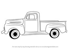 Car Drawing Easy, Car Drawing Kids, Cartoon Drawing For Kids, Cartoon Kids, Cars Cartoon, Vw Vintage, Vintage Trucks, Vintage Ideas, Truck Coloring Pages