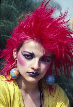 Nina Hagen, 1980. Always loved her crazy pink hair! Amazing voice, beautiful woman... even today. Too bad she had to go & get all Jesus freak on us.