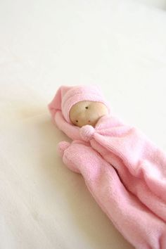 Waldorf baby gift fluffy cloth doll pink bleu off by TinyLuck, $25.00