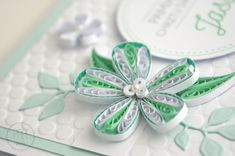 Pamiątka na chrzest święty kartka quilling mint flower husking quilling Paper Quilling Cards, Bows, Handmade, Arches, Hand Made, Bowties, Bow, Handarbeit