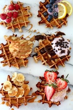 The best-ever fluffy yogurt protein waffles require just 4 ingredients, 10 minutes and 1 bowl. They are perfectly thick, soft, sweet and packed with nutritional benefits. Waffle Recipes, Brunch Recipes, Vegetarian Protein Powder, Think Food, Cafe Food, Aesthetic Food, Food Cravings, Street Food, Food Porn