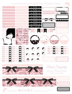 Free Printable Blush & Black Planner Stickers {page two} Planner Onelove