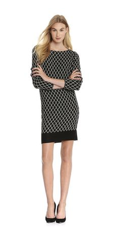 Diamond Pattern Sweater Dress from Joe Fresh. A diamond pattern, boat neck, and bracelet length sleeves keep you chic this season.  Only $39.