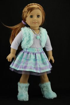 Aqua and purple 4 pc. Outfit with Fur Vest and sparkle Skirt  by DolliciousClothes on Etsy