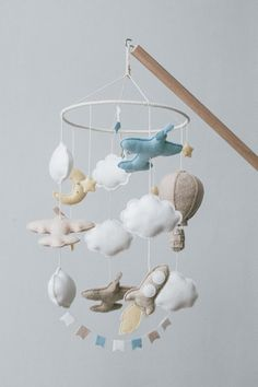 Airplane mobile - Baby mobile - Airplane decor - Mobile bebe - Hanging mobile - Travel nursery decor Baby, Babys, Infant, Doll, Infants, Child, Bebe
