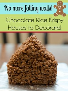Chocolate Rice Krispy Treat Houses instead of graham crackers! Brilliant way to use up leftover Halloween candy that has lingered. Printable recipe included for chocolate rice krispy treats and for buttercream frosting.