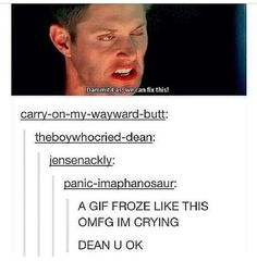 It kinda makes me think that Dean had a stroke and he is sooo worried about his appearance that he requests Cas's help
