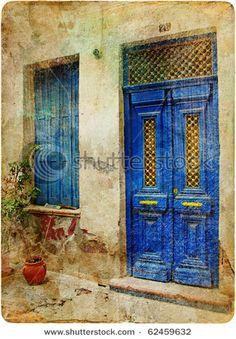 old doors of old greek city