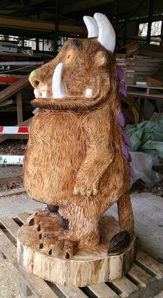 #Gruffalo chainsaw carving by Sally May This large 6 foot Gruffalo has been painted ready to be oilled.