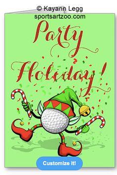 Dancing Golf Christmas Elf with Confetti Greeting Card by SportsArtZoo #golf #Christmas #greetingcard