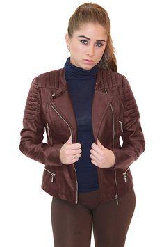 Design by Olivia Womens Long Sleeve Zipper Closure Moto Biker Faux Leather Jacket