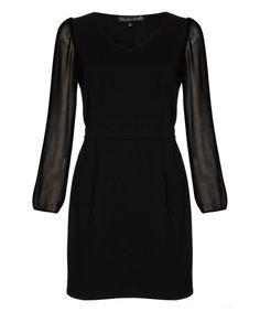 Black Sheer-Sleeve Sheath Dress #zulily #zulilyfinds