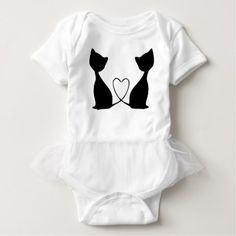 Cats with heart black and white baby bodysuit - Saint Valentine's Day gift idea couple love girlfriend boyfriend design