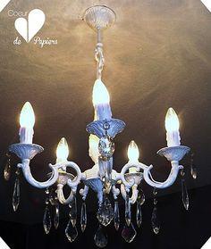 Un lustre de bronze repeint et décoré de cristal - coeurdepapiers.over-blog.com