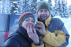 Mark and Julie enjoying Marshmallows at the Winter Fun Day Winter Fun, Winter Hats, Marshmallows, British Columbia, Good Day, Beautiful, Bom Dia, Buen Dia, Have A Happy Day
