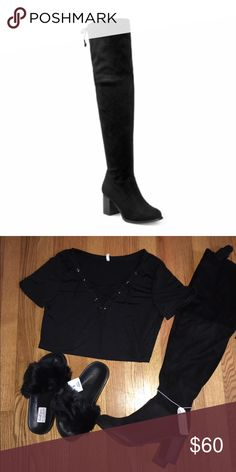 """Black Faux Suede Thigh High Boots Sizes 5.5 - 10 MAKE A OFFER   Super stylish and comfortable over-the-knee boots with a medium block heel. Covered with soft suede, the material is stretchy to accommodate different leg sizes. There is also a size zipper enclosure for easy on/off.  Product Features  Faux Suede, Rubber Outsole, 2.75"""" Heel, 24"""" Shaft, 10"""" Side Zipper Enclosure, 17"""" Opening Circumference Shoes Over the Knee Boots"""