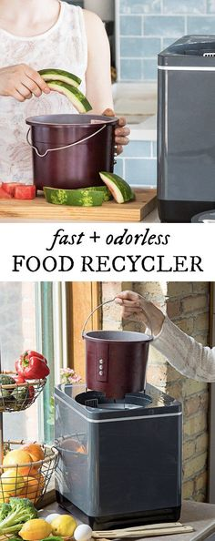 Food Cycler Organic Waste Recycler-Reduce the volume of kitchen scraps and leftovers (even bones and meat) by in three hours. Odor- and mess-free, the results will help fertilize your yard Cool Kitchen Gadgets, Cool Kitchens, Kitchen Stuff, Micro Nutrients, House Smells, Food Waste, Survival Prepping, Sustainable Living, Natural Living