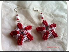 DIY Tutorial: how to make star earrings using seed beads and rivoli swarovski crystal starfish - YouTube
