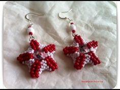 DIY Tutorial: how to make star earrings using seed beads and rivoli swarovski crystal starfish - YouTube