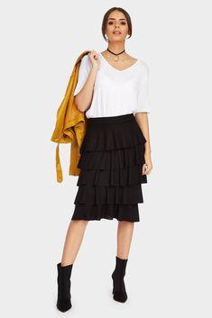 Black Frill Midi Skirt