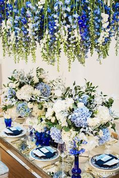 Floral Wedding Centerpieces Planning and Tips - Love It All Blue White Weddings, Blue Wedding Flowers, Blue Flowers, Floral Wedding, Wedding Colors, Wedding Bouquets, Baby Blue Wedding Theme, Greek Wedding Theme, Baby Blue Weddings