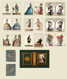 """Part 1 of 2 of my free miniature book printie on French Fashions of the 1770s & 1780s.  You print both sides of the paper to make the pages of the 1.75"""" book."""