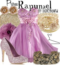 "I ♥ ♥ ♥ this ""Tangled"" inspired Disneybound, prom version!! The gold accessories (especially the bracelet that looks like Rapunzel's braided hair!!) and perfect purple dress are sure to ensure your ""Tangled"" Ever After!! ♥"