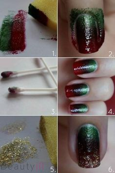 Beauty Tip: DIY Nails Art / DIY Christmas Nails - Fereckels Get Nails, How To Do Nails, Hair And Nails, Nail Art Designs, Nails Decoradas, Christmas Nail Art, Diy Christmas, Green Christmas, Holiday Fun